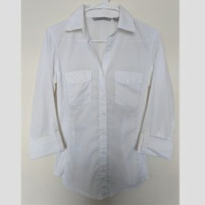 White Button Down Signature by Larry Levine Blouse